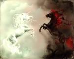 Созвучные мысли людей быстро завязываются, объединяя людей к добрым или злым делам, они определят друзей или недругов. – http://desktopinhq.net/69474-white_and_black_unicorn/.